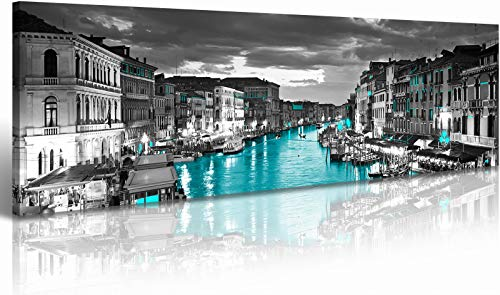 "Venice Skyline City Canvas Wall Art Decor 14""x48"" Black and White Waterfront Cityscape Coastal CA, USA Pictures Artwork Painting Poster for Bedroom Office Decoration Stretch Framed Ready to Hang"