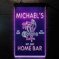 Coronas Extra Parrot Bird Palm Tree パーソナライズされたマイホームバーの装飾 Decor LED看板 ネオンサイン バーライト 電飾 ビールバー 広告用標識 白色 + 紫色 W30cm x H40cm