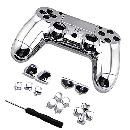 Floridivy gevalhoogtepunt Plated Controller Set Bumpers Triggers Dpad LB RB Controller, Knoppencombinatie, Gamepad LT RT Case schroevendraaier Vervanging voor PS4 Controller