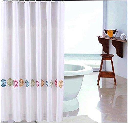 Douchegordijnen Polyester 3D Vier Kleur Bloemen Dikke Mold Waterdichte Badkamer Gordijn Barrier Gordijnen Multi-size, met Haken
