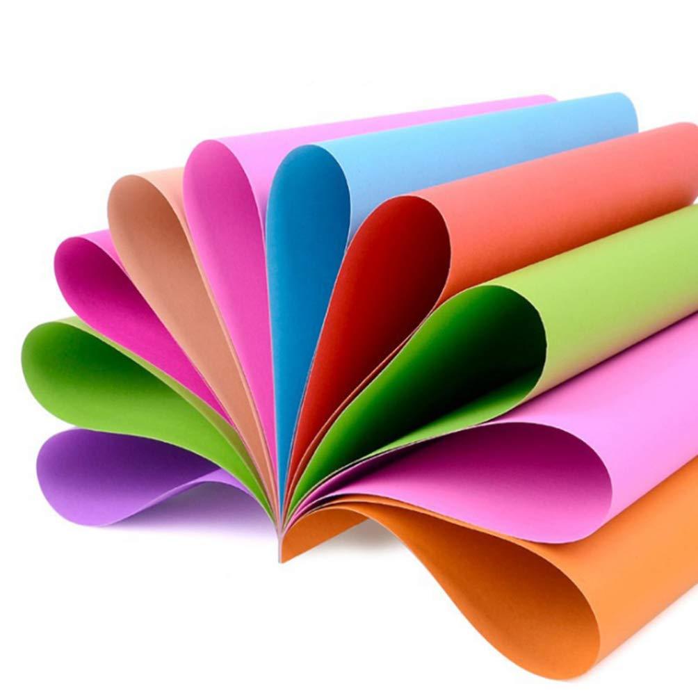 أكهارت 50 قطعة من ورق ملون ملون فن ورق قابل للطي لون الورق المقوى أوغامي للأعمال اليدوية للأطفال Amazon Ae