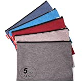 ADVcer 5 Pack Canvas Zipper Tool Bag Set, 13.3' x 9.4' 14oz Heavy Duty Waterproof Multipurpose Utility Multi Tool Storage Pouch Case for Organizing and Sorting Household Tools, Spare Parts (5 Colors)