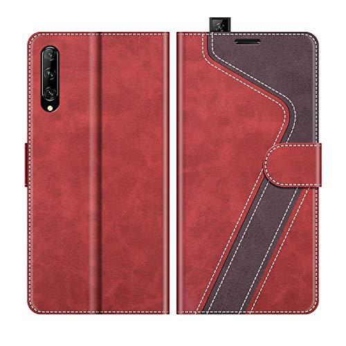 MOBESV Handyhülle für Huawei P Smart Pro Hülle Leder, Huawei P Smart Pro Klapphülle Handytasche Case für Huawei P Smart Pro Handy Hüllen, Modisch Rot