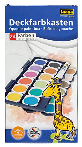 Idena 22064 Deckfarbkasten mit 24 Farben und 1 Tube Deckweiß, ideal für Kindergarten, Schule und zu Hause