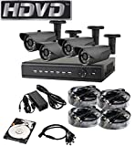 HDVD HVD-P-T47B 4 Channel HD-TVI CCTV DVR All in One Package Full HD 1080P HDMI Output Night Vision IR Indoor/Outdoor Bullet Pipe Camera 1TB HDD Installed