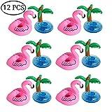 Outgeek Aufblasbare Getränkehalter 12 Stück Flamingo Palme Aufblasbare Getränkehalter...