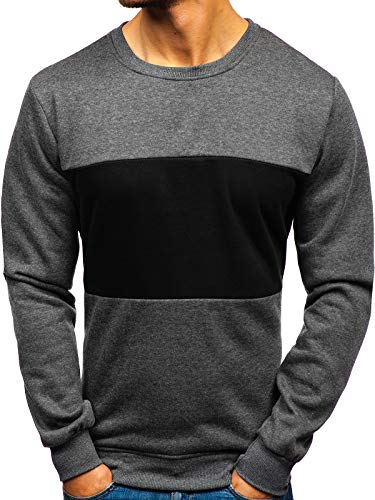 BOLF Herren Sweatshirt ohne Kapuze Aufdruck Rundhalsausschnitt Sportlicher Stil J.Style TX23 Dunkelgrau XL [1A1]