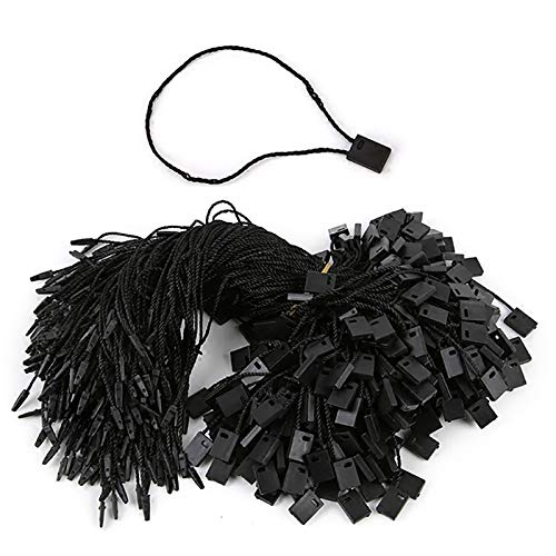 1000pcs Hang Tag String Lock Pin Loop Fastener Hook Ties Black Nylon Tag String Snap Easy and Fast to Attach(7inches)