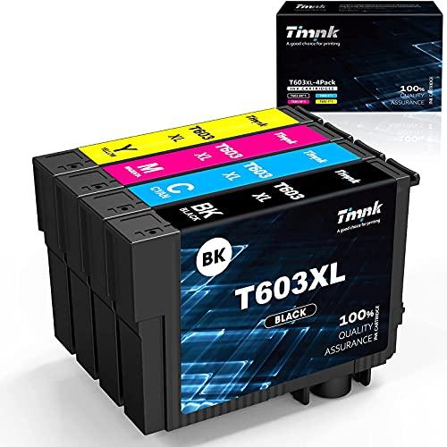 Timink 603 XL Cartuchos de Tinta Reemplazo de Epson 603XL Compatibles con Epson XP-2100 XP-2105 XP-3100 XP-3105 XP-4100 XP-4105 WF-2810 WF-2830 WF-2850 (4 Paquetes)