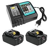 TPLS Cargador de repuesto y 2 baterías de 5,0 Ah 18 V para Makita BL1860B BL1860 BL1850 BL1845 BL1840B BL1840 BL1835 BL1830B BL1830