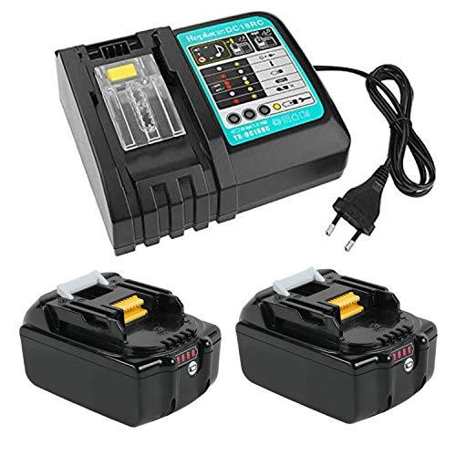 TPLS-2 Pezzi 18V 5ah BL1850 batterie di ricambio + Caricatore DC18RC per Makita 18 V, BL1860B, BL1860, BL1850, BL1845, BL1840B, BL1840, BL1835, BL1830B, BL1830