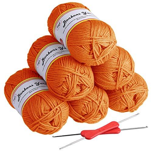 Fuyit Laine à Tricoter en Acrylique 300g (6x50g) avec 2 Crochet Gratuit pour Tricot Idéal pour Tout Projet de Tricot et de Crochet(Orange)