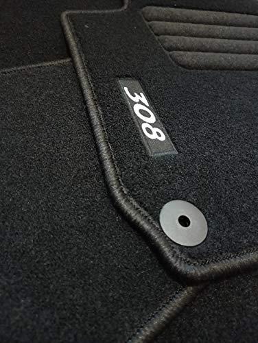 Accesorionline Alfombrillas para 308 II 2013-2017 Juego Completo - alfombras a Medida - Todos los Modelos - Anclajes Originales (308 II 2013-2017)