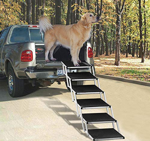 Snagle Paw Portable Dog Car Step Stairs, Accordion Aluminum Frame Folding Pet Ramp for Indoor Outdoor Use, Lightweight Auto Large Pet Ladder for Cars, Trucks,SUVs Cargo,and High Bed,6 Steps