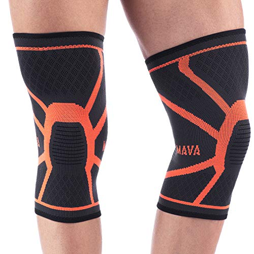 Mava Sports Knee Compression Sleeve Support, Pair (Orange, Large)