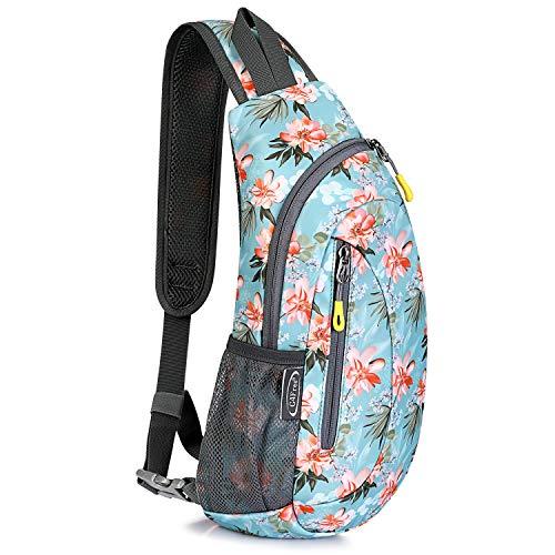 G4Free Leichte Brusttasche Sling Schulter Rucksäcke Nette Umhängetasche Dreieck Pack Rucksack zum Wandern Radfahren Reisen oder Multipurpose Tagepacks (Blumenblau)