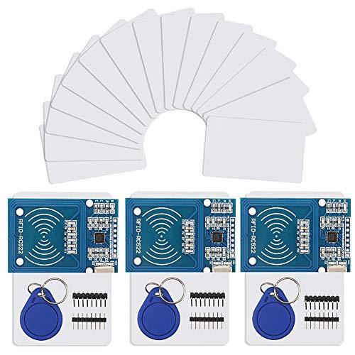 Kit RFID - 3 x Modulo Lettore di Schede MFRC-522 RF IC con 15 pezzi Scheda di Chiave Aggiuntiva S50 Come Regalo e Portachiavi RFID per Arduino e Raspberry Pi
