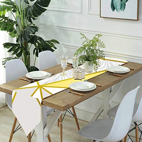 Jack16 Zara - Camino de mesa de mármol metalizado dorado mostaza para casa, fiestas, decoración de vacaciones, para cocina, comedor, café, 33 x 70 pulgadas
