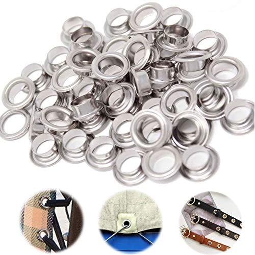 100 Pcs Ojales Metalicos Kit de Herramientas de Ojales con Arandelas Kit de Herramientas con Ojales Plateados Conjunto de Ojales para Zapatos/Equipaje/Cuero/Lona/Carpas/Toldos/Zapatos, 5mm