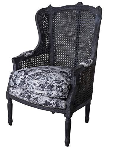 Antik Ohrensessel Toile de jouy Schwarz Sessel Shabby Chic Brocante Stuhl Armlehnstuhl cat0678i63 Palazzo Exklusiv