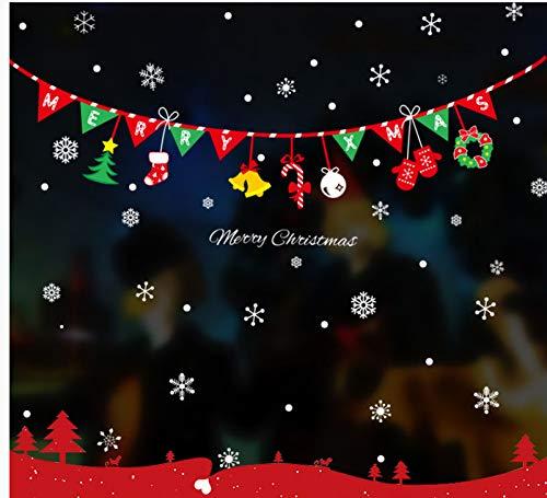Decoración Navideña Pegatinas De Pared Ventana Vidrio Ventana Pegar Árbol De Navidad Etiqueta Papá Noel Muñeco De Nieve Campana Trineo 125 * 76 cm
