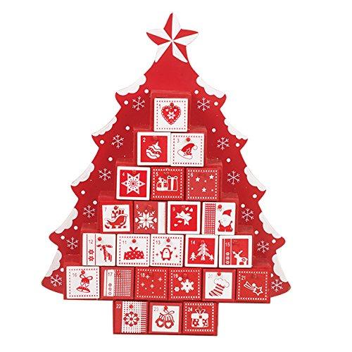 Kerstwerkplaats Houten Adventskalender ~ Rood en Wit ontwerp met laden ~ Boomvorm ~ Kerstversiering, Countdown~ 86140