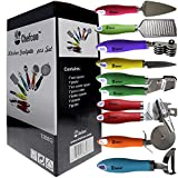 8 Pieces Kitchen Gadget Tools Set by Chefcoo - Stainless-Steel Utensils Chef Cooking Set - Peeler, Knife, Pie Server, Can Opener, Pizza Cutter, Grater, Knife Sharpener & Garlic Press