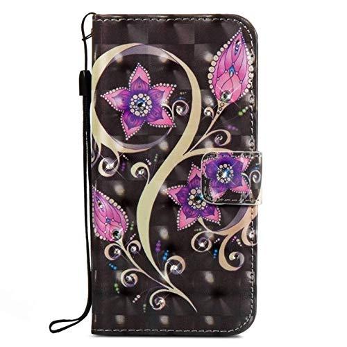 Surakey kompatibel mit LG Stylus 2 Hülle,LG G Stylo 2 Hülle 3D Muster Kristall Glitzer Bling PU Leder Tasche Flip Hülle Ledertasche Wallet Brieftasche Schutzhülle Handytasche,Lila Mandala Blume