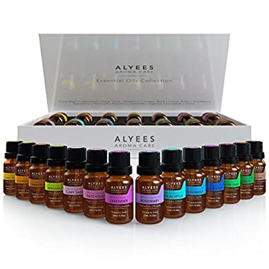Alyees Aromatherapy Essential Oils -100% Pure Premium Theraputic Grade Sampler Gift Set/Pack - Best Variety 14-10ml Oils Kit - Unlock The Power Of Natural Healing !
