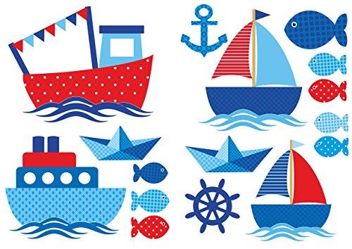 Wandtattoo Schiffe Rot-Blau Maritime Wandaufkleber fürs Kinderzimmer, Babyzimmer, Baby Mädchen Junge von Jabalou