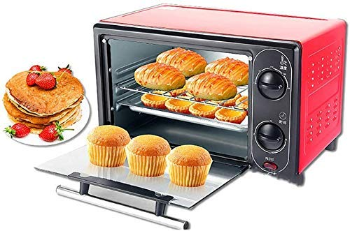 Domestic Elektro-Ofen Multifunktionales 12-Liter-Mini-Ofen Elektrogeräte Mini Ofen rosa kleiner Ofen Elektroherd Auto Retractable Grill gesund, Rot, Rot 8bayfa (Color : Red)