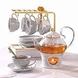 DUJUST Set da tè piccolo per adulti, struttura in marmo e finiture dorate, set da tè artigianale in porcellana grigia per bambini, 1 teiera(650ml),6 tazze(120ml),6 piattini,1 ripiano e 1 scaldavivande