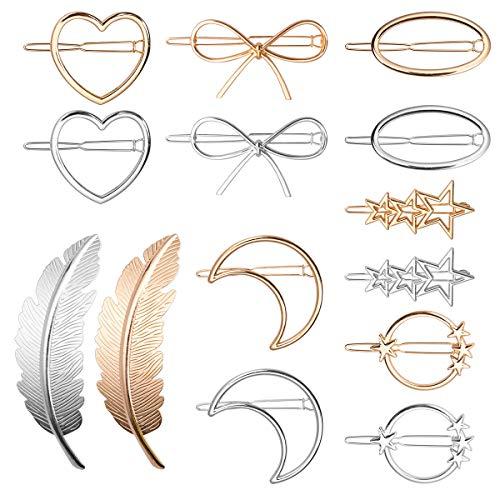 Pinces à Cheveux Métal, 14 Pièces Dainty Creux Géométrique Barrettes à Cheveux pour Filles Femmes Métal Épingles à Cheveux Bijoux Accessoires