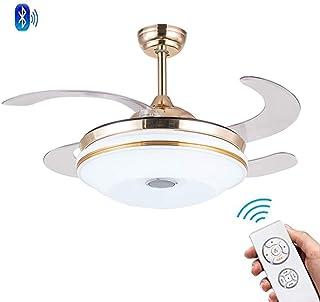 Chandelier Ceiling Fan,Retractable Fan Lights Bluetooth Remote Control White Chandelier Ceiling Fan Ceiling Light with Fandelier Light for Living Room Bedroom Fan Light 42 Inch