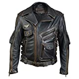 Vicenzia Leather Herren Leder Motorrad Biker TOP Lederjacke Schwarz (Large)