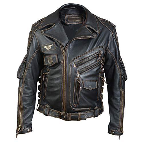 Herren HD Echt Rindsleder Top Premium Schwergewicht Leder Jacke Motorrad Biker Schwarz Lederjacke (XL 127cm Geeignete Brust 111-116cm)