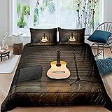 Juego de cama de guitarra para niños, niñas, adolescentes, instrumentos de guitarra, funda nórdica, micrófono musical, ropa de cama y lino individual