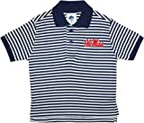 University of Mississippi Ole MIss Rebels Striped Polo Shirt by Creative Knitwear, Navy/White, 4T