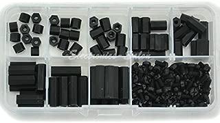 Electronics-Salon M3 Nylon Black Hex Female-Female Standoff Screw Assortment Kit, Standoff 5mm 6mm 8mm 10mm 12mm 16mm 18mm 20mm, Screw M3 x 6mm. Spacer.