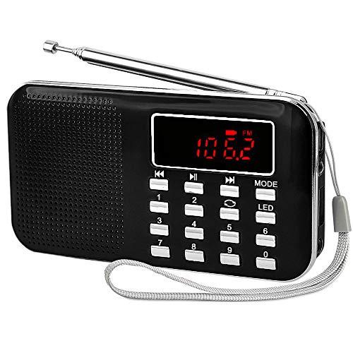 iMinker tragbare Mini-Digital-AM / FM-Radio-Mittel-Lautsprecher-MP3-Player-Unterstützungs-TF-Karte / USB-Anschluss mit LED-Screen-Display, Notfall-Taschenlampe, 3,5-mm-Kopfhörerbuchse (Schwarz)