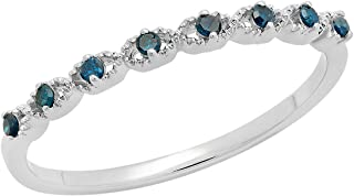 0.08 Carat (ctw) Round Blue Diamond Ladies Anniversary Wedding Stackable Band Ring, Sterling Silver