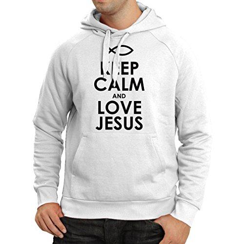 Sudadera con Capucha Amo a Jesucristo, Religión Cristiana - Pascua, Resurrección, Natividad, Ideas de Regalo Religioso (Medium Blanco Negro)