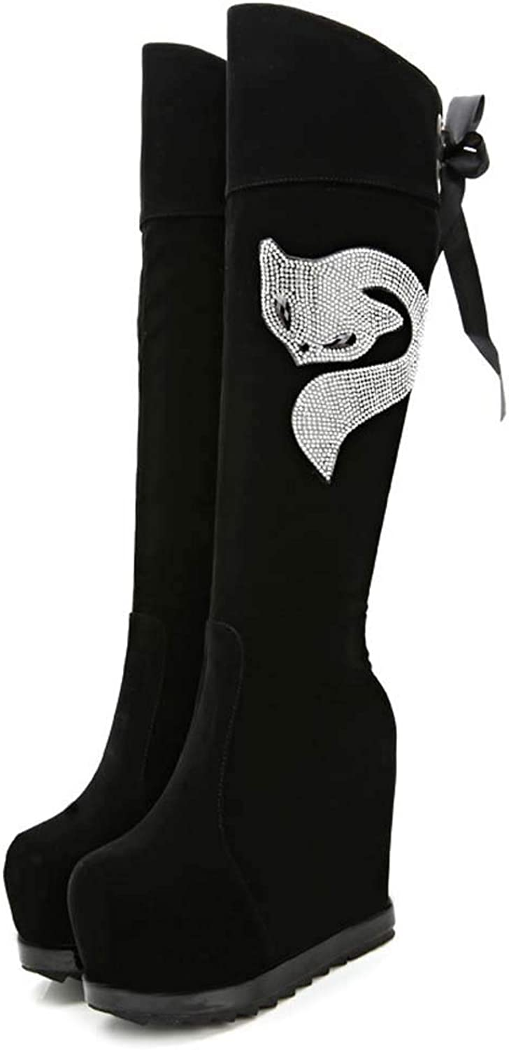 GONGFF Inside Increase High Boots, Frosted Wedge Heel Boots,Rhinestones, Martin Boots, Women's Boots
