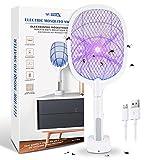 WOTEK Raqueta Mosquitos Eléctrico y Lámpara Antimosquitos 2 en 1, Matamosquitos Eléctrico 3000v, Matamoscas Eléctrico con Base de Carga USB, Adecuado para Lámpara Antimosquitos de Interior y Exterior