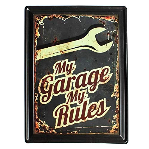 My Garage My Garage My Rules - Placa decorativa de metal para pared (tamaño grande), diseño con texto 'My Garage'