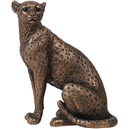 WJS Ornamente für Home Statue Figur-Skulptur Home Büro Tisch Desktop Dekor Leopard Gold Goldene Gepard Handmade dekorativ (Color : A)