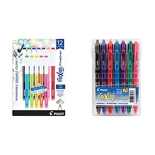 PILOT FriXion Fineliner Erasable Marker Pens, Fine Point, Assorted Color Inks, 12-Pack & FriXion Clicker Erasable, Refillable & Retractable Gel Ink Pens, Fine Point, Assorted Color Inks, 7-Pack Pouch