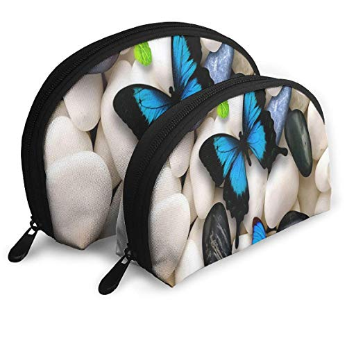 Small Cosmetic Bag Set of 2 Makeup Bag Butterflies Blue White Butterflies Stones Portable Shell Storage Bag for Mother Halloween Gift
