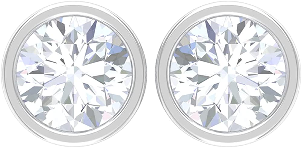 1 CT D-VSSI Moissanite Solitaire Earrings, Bezel Set Stud Earrings, Gold Dainty Earrings (5 MM Round Cut Moissanite), 14K White Gold, Moissanite