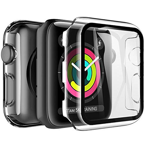 LK Custodia Compatibile per Apple Watch 38mm Series 3/2/1 Pellicola Protettiva, [2 Pezzi] [HD Clear] Cover Rigida Vetro Temperato per iWatch 38mm Series 3/2/1 - Trasparente